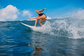 Happy Surfer Woman At Surfboard On Ocean Wave. Surfer In Ocean During Surfing. poster