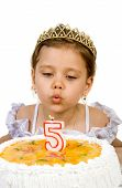 picture of cute little girl  - A little girl blowing out the candles on her birthday cake - JPG