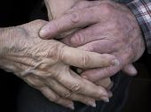 Elderly Couple Holding Hands, Expression Of Love And Tenderness, Close Up poster