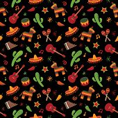 stock photo of pinata  - mexican themed seamless pattern with cactus sombrero and pinata - JPG