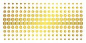 Financial Settings Gear Icon Gold Colored Halftone Pattern. Vector Financial Settings Gear Pictogram poster