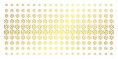 Galaxy Icon Golden Halftone Pattern. Vector Galaxy Objects Are Organized Into Halftone Array With In poster