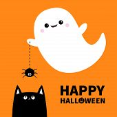 Happy Halloween. Flying Ghost Spirit Holding Spider Dash Line Web Boo. Black Cat. Scary White Ghosts poster