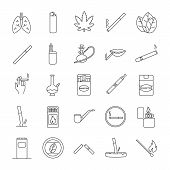 Smoking Linear Icons Set. Cigarettes, Smoking Devices, Cannabis Culture. Thin Line Contour Symbols.  poster