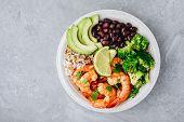 Spicy Shrimp Burrito Buddha Bowl With Wild Rice, Broccoli, Black Beans And Avocado poster