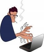 Writer With Smoking Cigarette Editor Journalist Creates Novel Or Article On Laptop, White Background poster