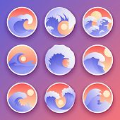 Ocean Waves Vector Collection. Sea Storm Color Waves. Waves, Water Elements Set. Nature Wave Water S poster