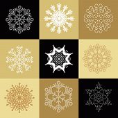 Big Set Of Snowflakes. Christmas Card With Snowflakes. Beautiful Snowflakes Collection For Christmas poster