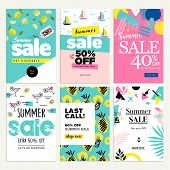 Set Of Mobile Summer Sale Banners. Vector Illustrations Of Online Shopping Ads, Posters, Newsletter  poster