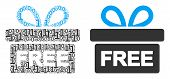 Free Gift Collage Icon Of Zero And Null Digits In Variable Sizes. Vector Digital Symbols Are Compose poster