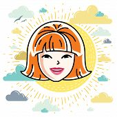 Vector Illustration Of Beautiful Red-haired Female Face, Positive Face Features, Clipart. poster