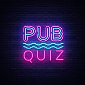Pub Quiz Night Announcement Poster Vector Design Template. Quiz Night Neon Signboard, Light Banner.  poster