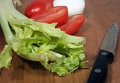 image of crudites  - This is an image of raw vegetables and a knife.
