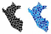 Dot Peru Map Variants. Abstract Geographic Scheme Version Done With Blue Color Tones. Vector Composi poster