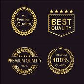 Set Of Luxury Gold Badges. The Premium Quality, Best Quality, Premium Quality 100%, Premium 100% Qua poster
