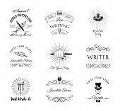 Writers Labels Set. World Writer Day Logos. Paperweight, Feather, Elegant Pen, Writer, Literary. Swi poster