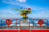 Offshore Construction Platform For Production Oil And Gas. Oil And Gas Industry And Hard Work. Produ poster