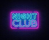 Night Club Neon Sign Vector. Night Club Design Template Neon Sign, Light Banner, Neon Signboard, Nig poster