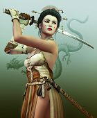 image of woman dragon  - a young asian woman with samurai sword - JPG