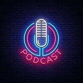 Podcast Neon Sign Vector Design Template. Podcast Neon Logo, Light Banner Design Element Colorful Mo poster