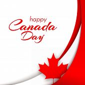 Patriot Poster With Canada Flag And The Text Of The Happy Canada Day Wavy Red Satin Lines And A Mapl poster