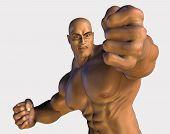 image of adonis  - 3d render of a bodybuilder punching you - JPG