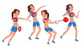 Athletics Young Woman Player Vector. Sport Concept. Jogging Race. Sportswear. Individual Sport. Girl poster
