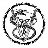 The Vector Drawing Of Swords Of The Viking And Dragon Biting A Tail. Fantastic Snake. Image Of A Sac poster