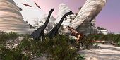 foto of pterodactyl  - A Carnotaurus dinosaur approaches two huge Brachiosaurus for a battle while two Pterodactyls watch - JPG