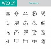 Discovery Icons. Set Of Twenty Line Icons. Video Content, Data Exchange, Online Service. Discovery C poster