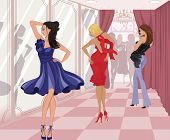 picture of high heels  - Three beautiful girls try on dresses and look in the mirror in the fitting room of a shopping mall - JPG