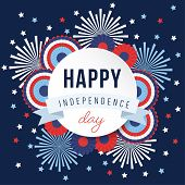 Happy Independence Day, 4th July National Holiday. Festive Greeting Card, Invitation With Fireworks  poster