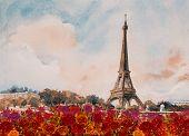 Paris European City Landscape. France, Eiffel Tower Famous, With Red Roses Romantic The Seine River  poster