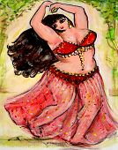 pic of belly-dance  - Big beautiful belly dancer in traditional red costume - JPG