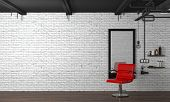 Hair Salon Interior Modern Style 3d Illustration Beauty Salon Red Chair,white Brick Wall poster