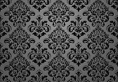 Floral Pattern. Vintage Wallpaper In The Baroque Style. Seamless Vector Background. Black Ornament F poster