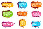 Trendy Speech Bubble Set For Retail. Most Commonly Used Acronyms And Replica Collection. Discount, S poster