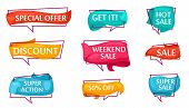 Sale Speech Bubble Set For Shop. Most Commonly Used Acronyms And Replica Collection. Discount, Super poster