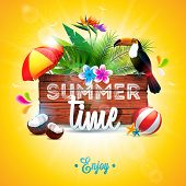 Vector Summer Time Holiday Typographic Illustration With Toucan Bird On Vintage Wood Background. Tro poster