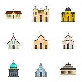 Church Icons Set. Cartoon Set Of 9 Church Vector Icons For Web Isolated On White Background poster