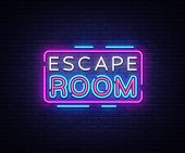 Escape Room Neon Signs Vector. Escape Room Design Template Neon Sign, Light Banner, Neon Signboard,  poster