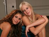 stock photo of teenage girl  - two teenage girls posing together - JPG