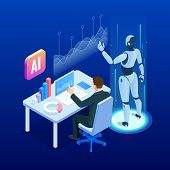 Isometric Man And Woman With Robot Artificial Intelligence Working , Robot Working With Virtual Disp poster
