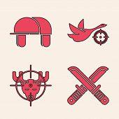 Set Crossed Hunter Knife, Hunter Hat, Hunt On Duck With Crosshairs And Hunt On Moose With Crosshairs poster