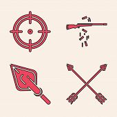 Set Crossed Arrows, Target Sport For Shooting Competition, Gun Shooting And Hipster Arrow Tip Icon.  poster