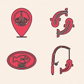 Set Fishing Rod And Fish, Location Fishing, Fish And Fish Trophy Hanging On The Board Icon. Vector poster