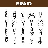 Braid Bread Hairstyles Collection Icons Set Vector Thin Line. Long Female Braid, Braided Hair Style  poster