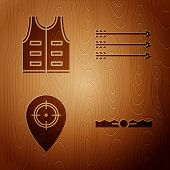 Set Trap Hunting, Hunting Jacket, Hunt Place And Hipster Arrows On Wooden Background. Vector poster