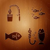 Set Fishing, Fishing Rod And Fish, Fish And Fishing Hook Under Water With Fish On Wooden Background. poster