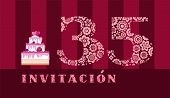 Invitation To The Celebration, 35 Years, Berry Cake, Spanish, Vector. Color Card With The Number 35  poster